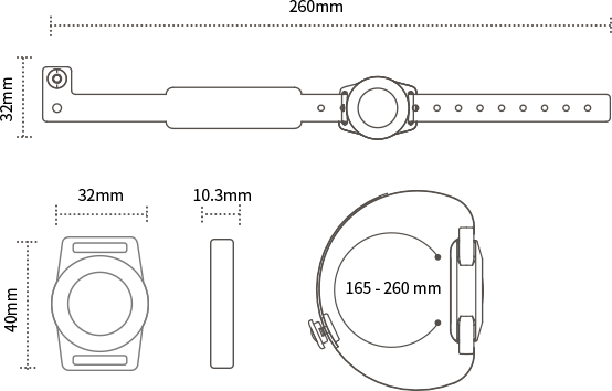 Size of RFID embedded in the strap